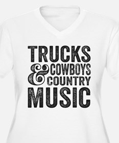 Trucks Cowboys and Country Music Plus Size T-Shirt