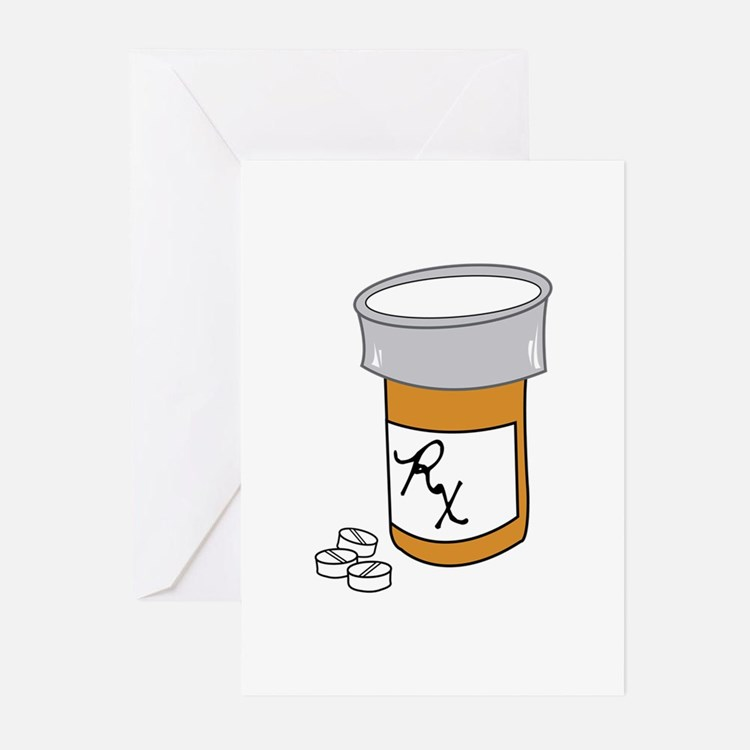 Pill Bottle Greeting Cards