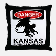 Danger: Flying Monkeys! Throw Pillow