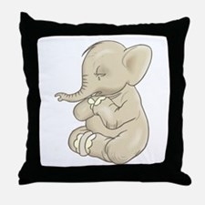 Sad Praying Elephant Throw Pillow
