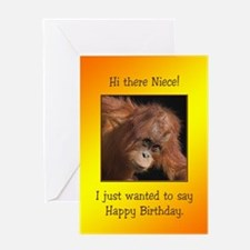 For niece, Birthday card with a baby orang utan Gr