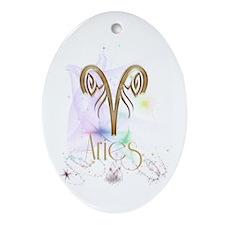 Aries Zodiac Sign Ornament (Oval)