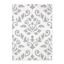 Baroque Damask Grey On White Design 5'x7'area Rug