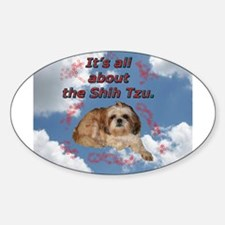 Shih Tzu in the Sky with Diam Oval Decal