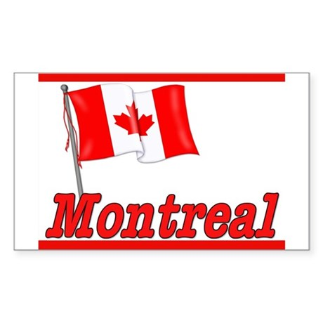 Canada Flag - Montreal Text Rectangle Sticker
