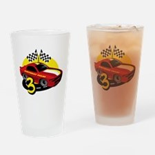 Race Car 3rd Birthday Drinking Glass