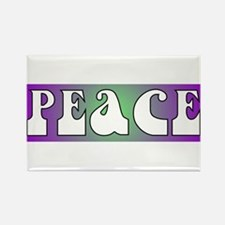 Purple/Green Peace Rectangle Magnet (10 pack)