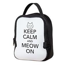 Keep Calm and Meow On Neoprene Lunch Bag
