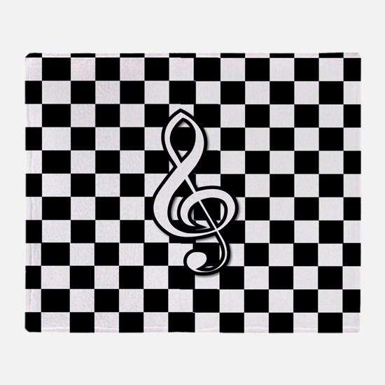 Treble Clef on check Throw Blanket
