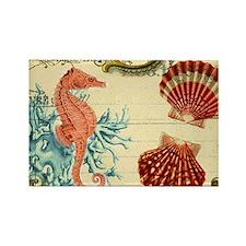 modern beach seashells seahorse coral paris art Ma