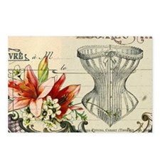 modern corset girly lily floral paris Postcards (P