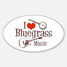 I Love Bluegrass Oval Decal