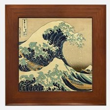 Japanese Waves Framed Tile