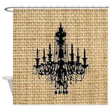 burlap black chandelier art Shower Curtain