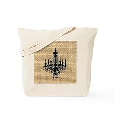 burlap black chandelier art Tote Bag