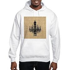 burlap black chandelier art Hoodie Sweatshirt