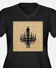 burlap black chandelier art Plus Size T-Shirt