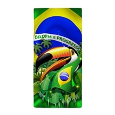 Toco Toucan with Brazil Flag Beach Towel