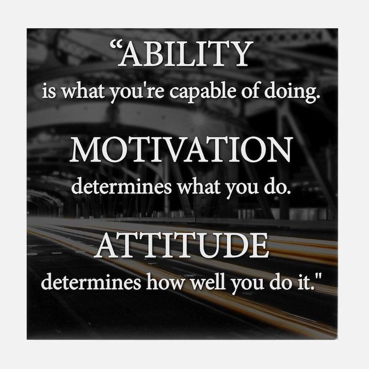 Ability Motivation Attitude Tile Coaster