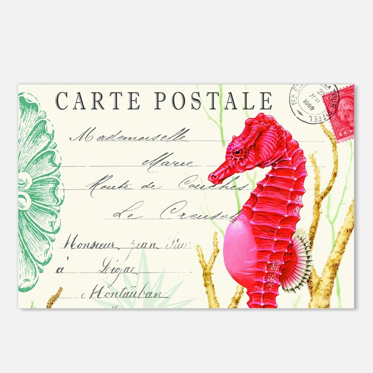 Modern vintage seahorse Postcards (Package of 8)