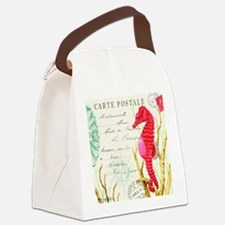 Modern vintage seahorse Canvas Lunch Bag