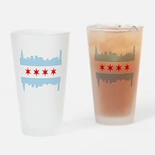 Chicago Flag Skyline Drinking Glass