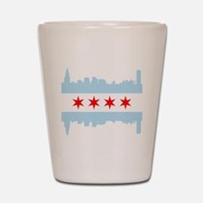 Chicago Flag Skyline Shot Glass