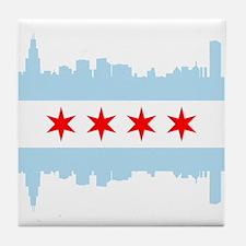 Chicago Flag Skyline Tile Coaster