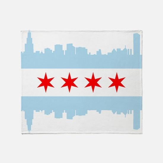Chicago Flag Skyline Throw Blanket