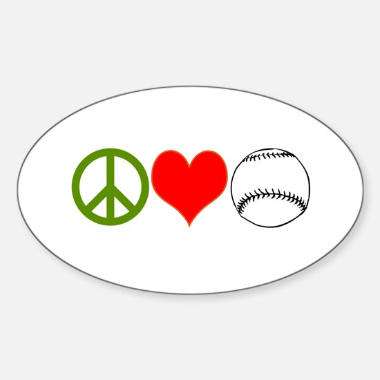 PEACE LOVE BASEBALL Sticker (Oval)