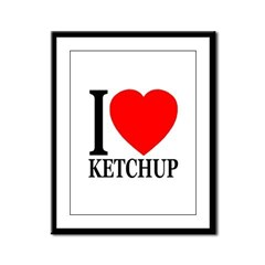 I Love Ketchup Classic Heart Framed Panel Print
