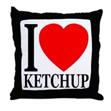 I Love Ketchup Classic Heart Throw Pillow