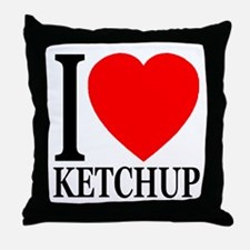 I Love Ketchup Classic Heart Throw Pillow