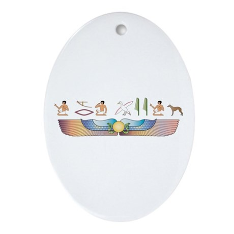 Whippet Hieroglyphs Oval Ornament