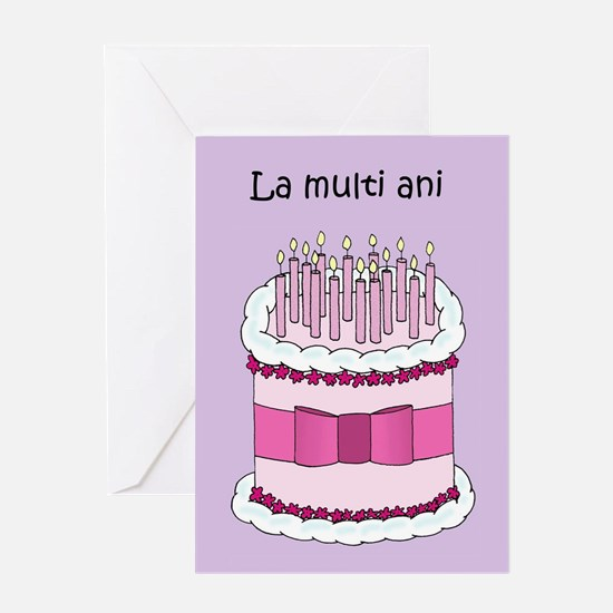 Romanian Happy Birthday Cake Greeting Cards