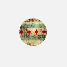 Grunge Chicago Flag Mini Button