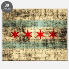 Grunge Chicago Flag Puzzle