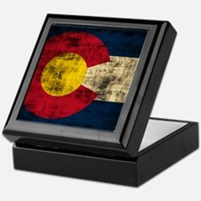 Grunge Colorado Flag Keepsake Box