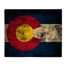 Grunge Colorado Flag Throw Blanket
