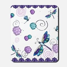 Decorative Swirls and Dragonflies Mousepad