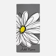 Whimsical Daisy - Gray Beach Towel