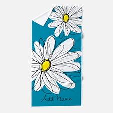 Whimsical Flowers - blue Beach Towel