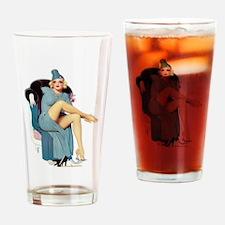 Blonde Blue Dress Glamorous Pin Up Girl Drinking G