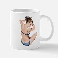 Blue Polka Dot Swimsuit Pin Up Girl Mugs