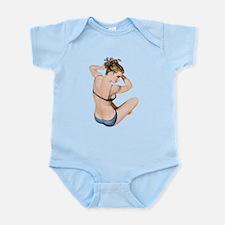 Blue Polka Dot Swimsuit Pin Up Girl Body Suit