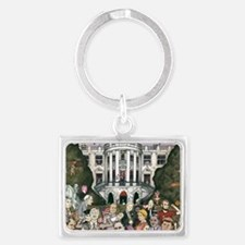 Us presidents at the white hous Landscape Keychain