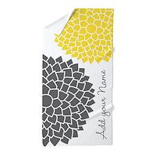 gray yellow mod flowers Beach Towel