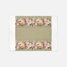 Vintage Floral Arrangements Pattern Border 5'x7'Ar