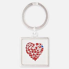 Georgia Heart Square Keychain