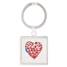 California Heart Square Keychain